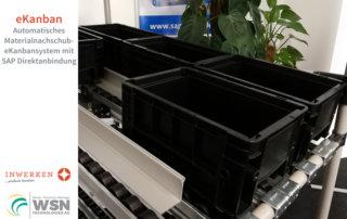 eKanbansystem Messedemonstrationsregal Inwerken und WSN