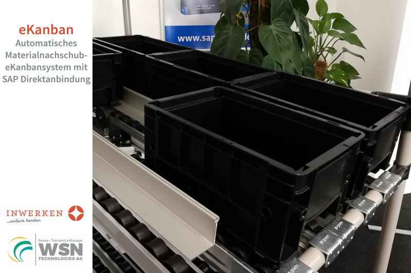 Neue Technologien: eKanbansystem Messedemonstrationsregal Inwerken und WSN