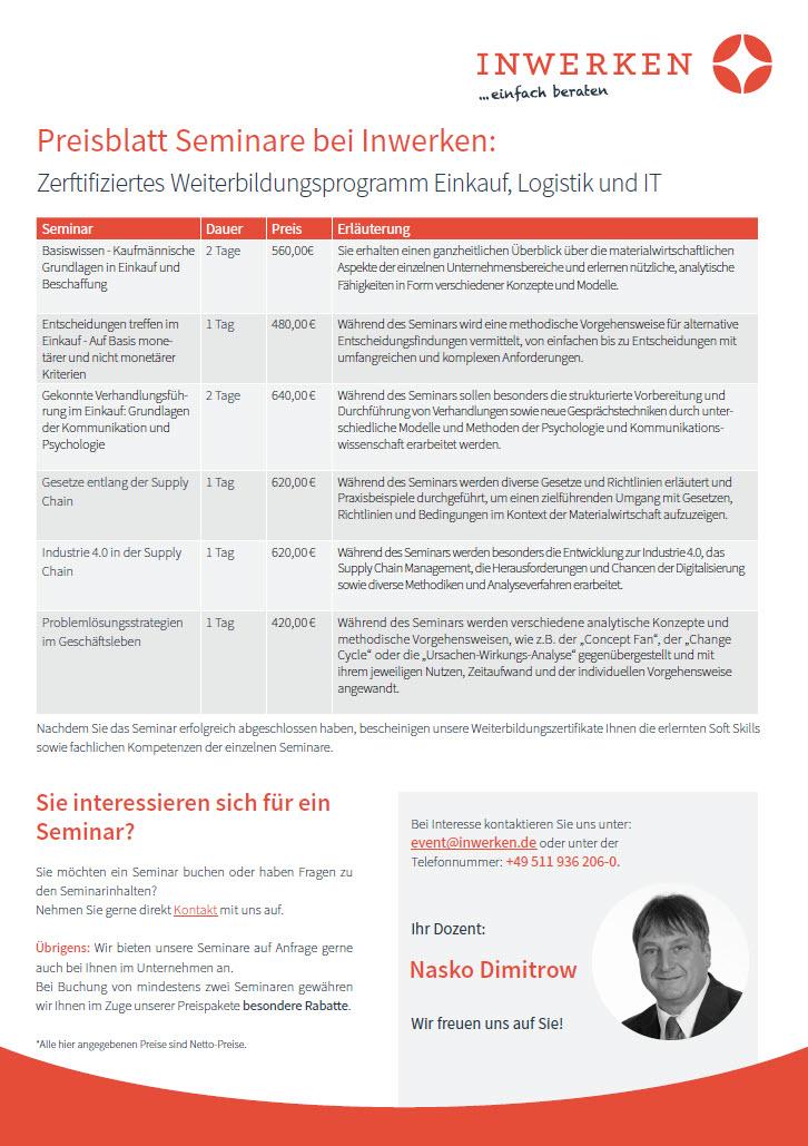 Seminare bei Inwerken: Preisblatt
