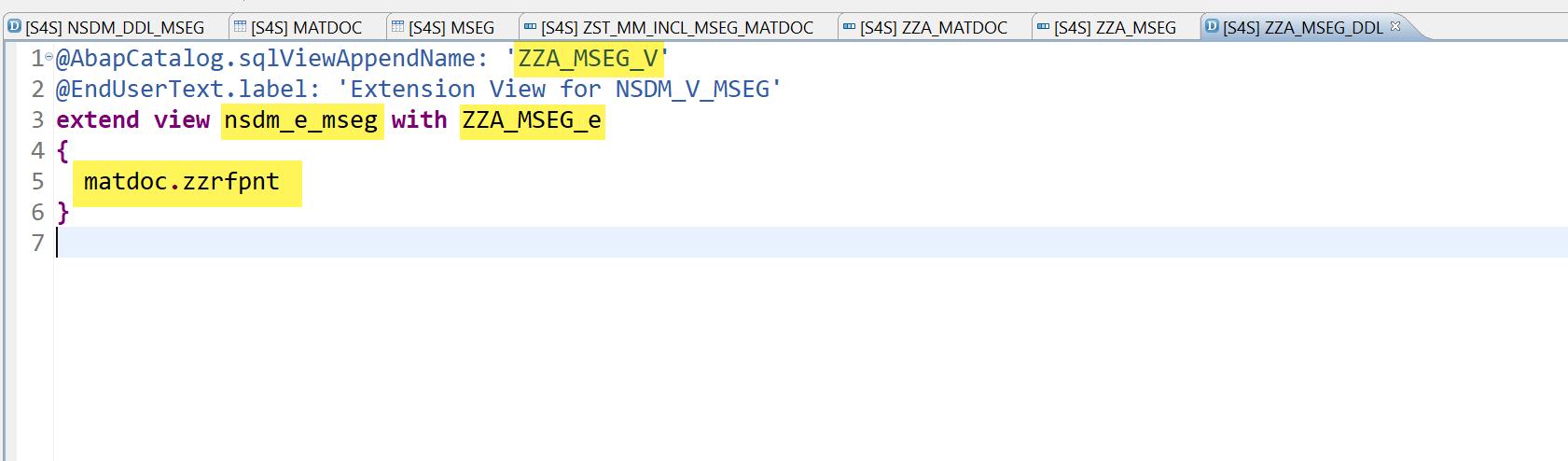 extend view nsdm e mseg