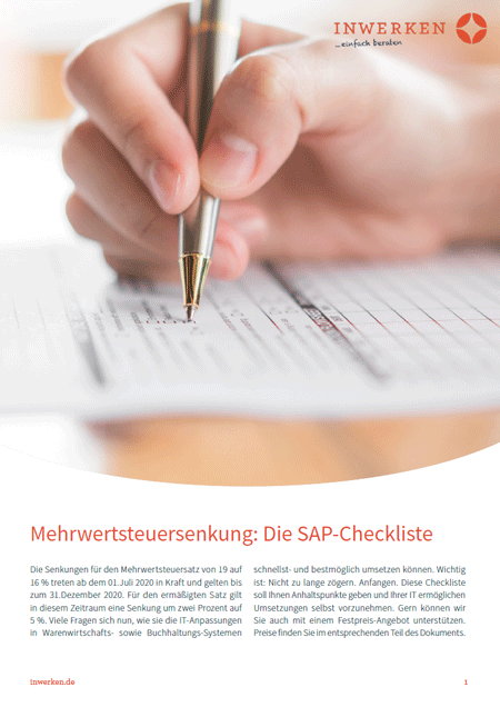 Mehrwertsteuersenkung SAP-Checkliste Corona 2020