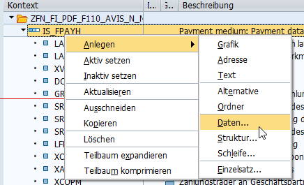 Kontext Formular SAP Beschreibung